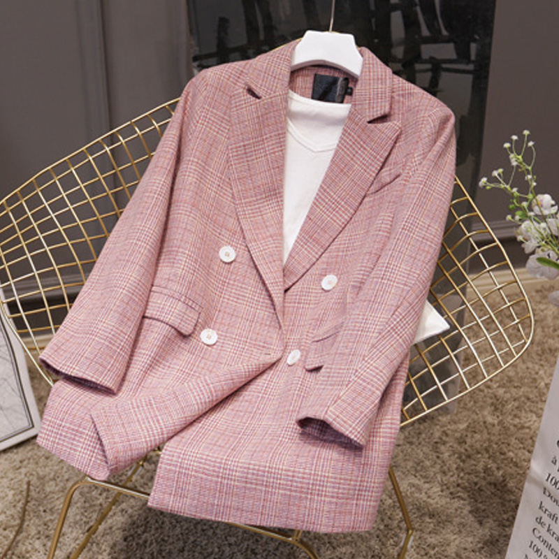Fashion Women Slim OL Plaid Jacket Coat 2019 Long Sleeve Streetwear Double Breasted Outwear Women's Pink Formal Blazers