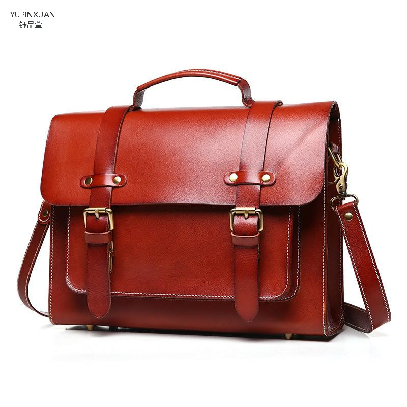 YUPINXUAN Unisex Briefcases Cow Leather Vintage Genuine Leather Office Bag Man Women Cowhide Work Bag Maletin Cuero Postman Bags