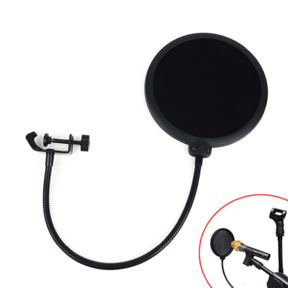 1 pc Preto Double Layer Estúdio Microfone Mic Vento Filtro de Tela Para Falar de Gravação