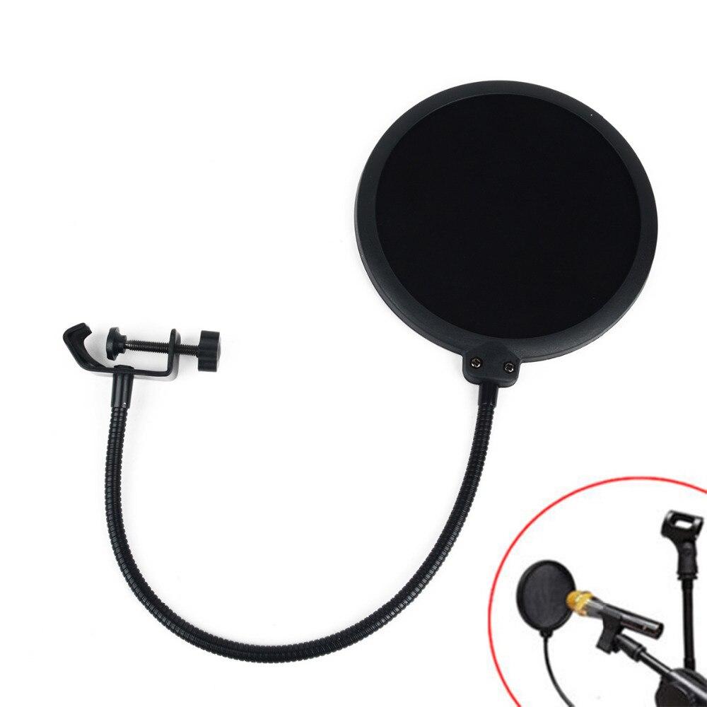 1 pc Schwarz Doppel Schicht Studio Mikrofon Mic Wind Screen Filter Für Sprechen Aufnahme