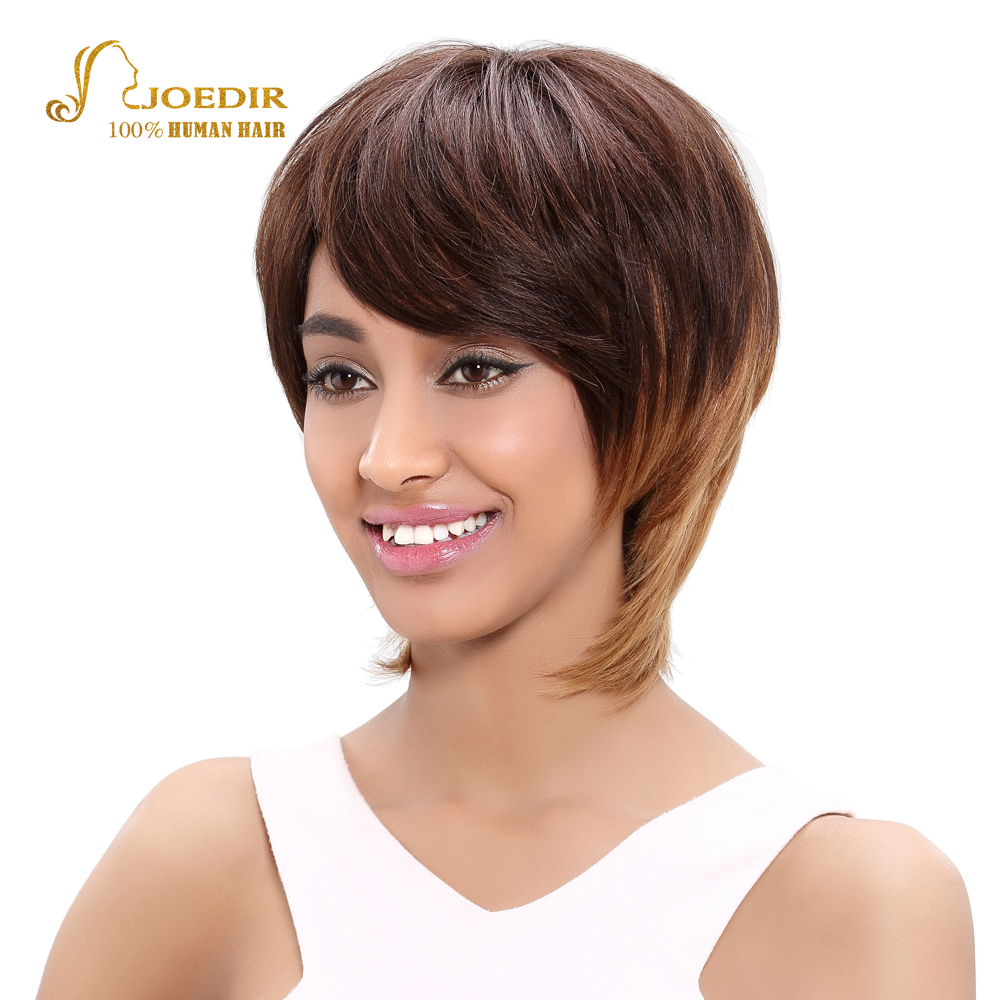 Joedir Brazilian Straight Hair Short Human Hair Brown Blonde Wigs For Women Brown Ombre  ...