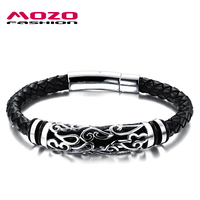 Mozo Мода горячей ювелирный бренд Для мужчин кожаный браслет мужской Винтаж Браслеты Нержавеющаясталь изысканный снимки Для мужчин s браслет mph901