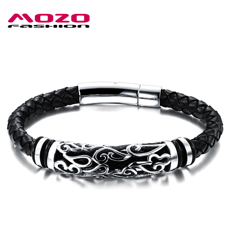 MOZO FASHION Hot Brand Jewelry Men Leather Bracelet Male Vintage Bangles Stainless Steel Exquisite Snaps Mens Bracelet MPH901 стоимость