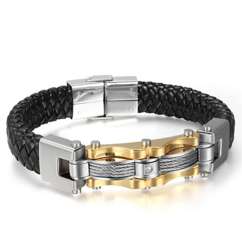 Woven leather rope bracelet for Man Black Galway Bending fittings sliver cable bracelet Titanium Steel Jewelry cool friend gift