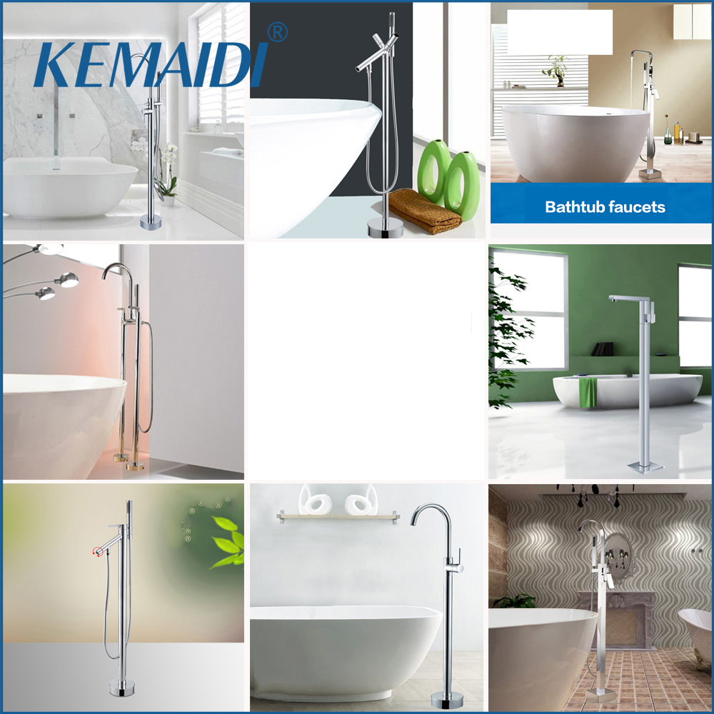 KEMAIDI NEW WELS and CUPC Wholesale and Retail Free Standing Floor Mounted Bathtub Faucet Tap Set & Hand Held Shower Tub Mixer