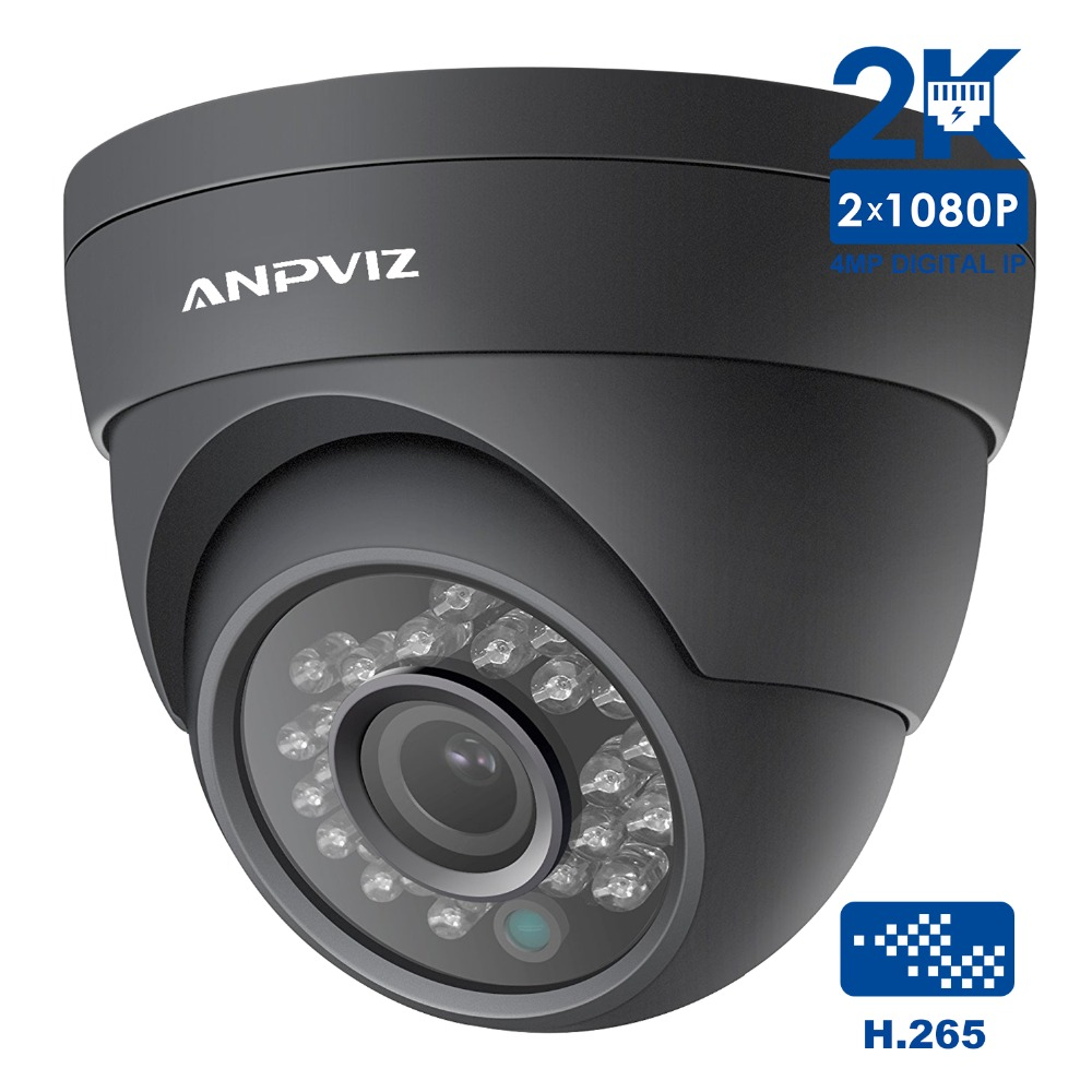 Anpviz 2K Outdoor Video PoE IP Dome Camera Onvif 4MP Security Camera Turret CCTV Home Night vision H.265 P2P Support 2 8 12mm h 265 uhd 4 720p 2k ip camera outdoor mini dome with poe cable kit 4mp 1080p onvif hd security cctv ganvis gv t454v pk