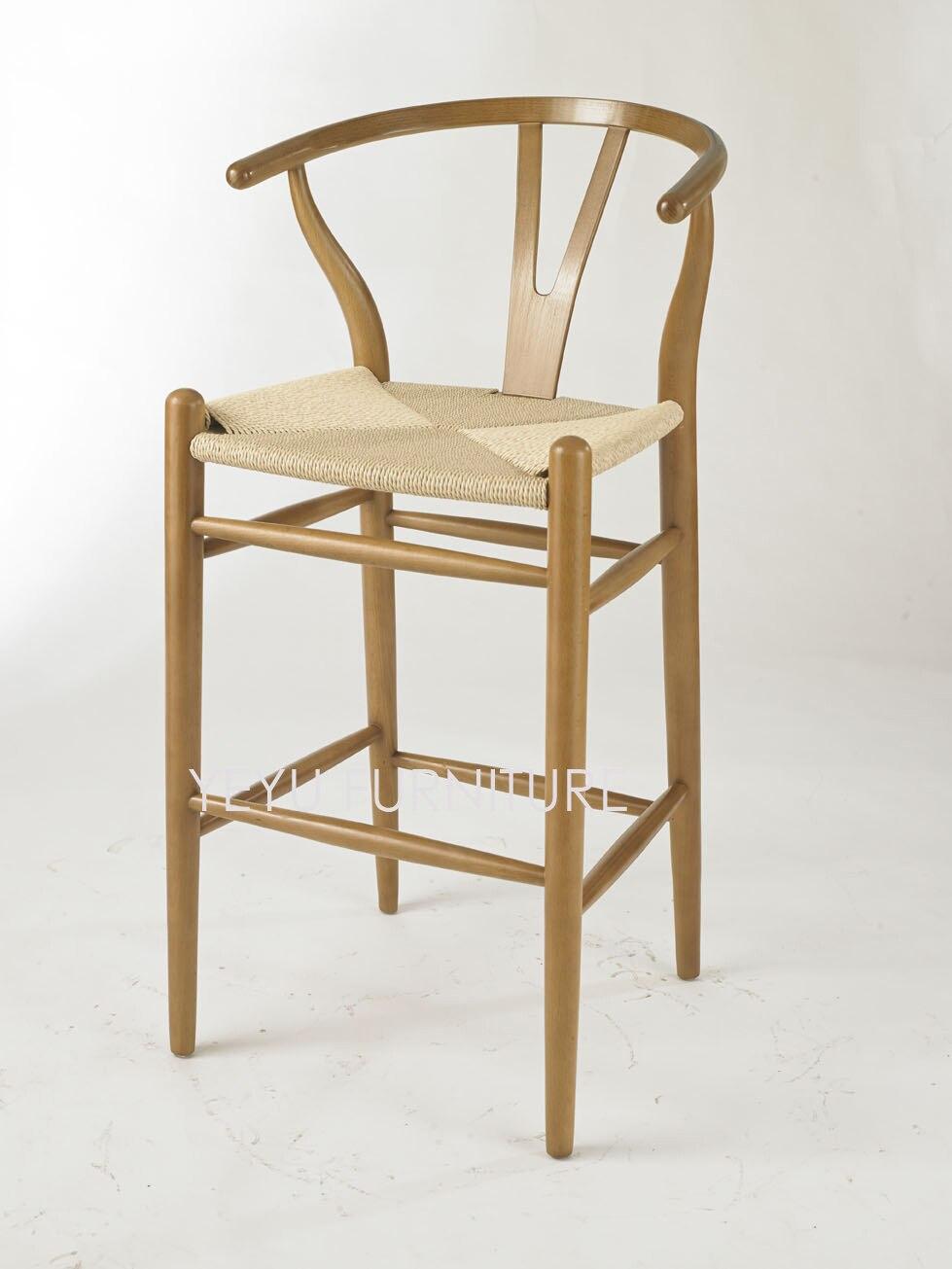 261 08 Hauteur D Assise 76 Cm Design Moderne Chaise De Bar En Bois Massif Tabouret De Comptoir Chaise De Bar En Bois Siège Cordon En Papier Tissé