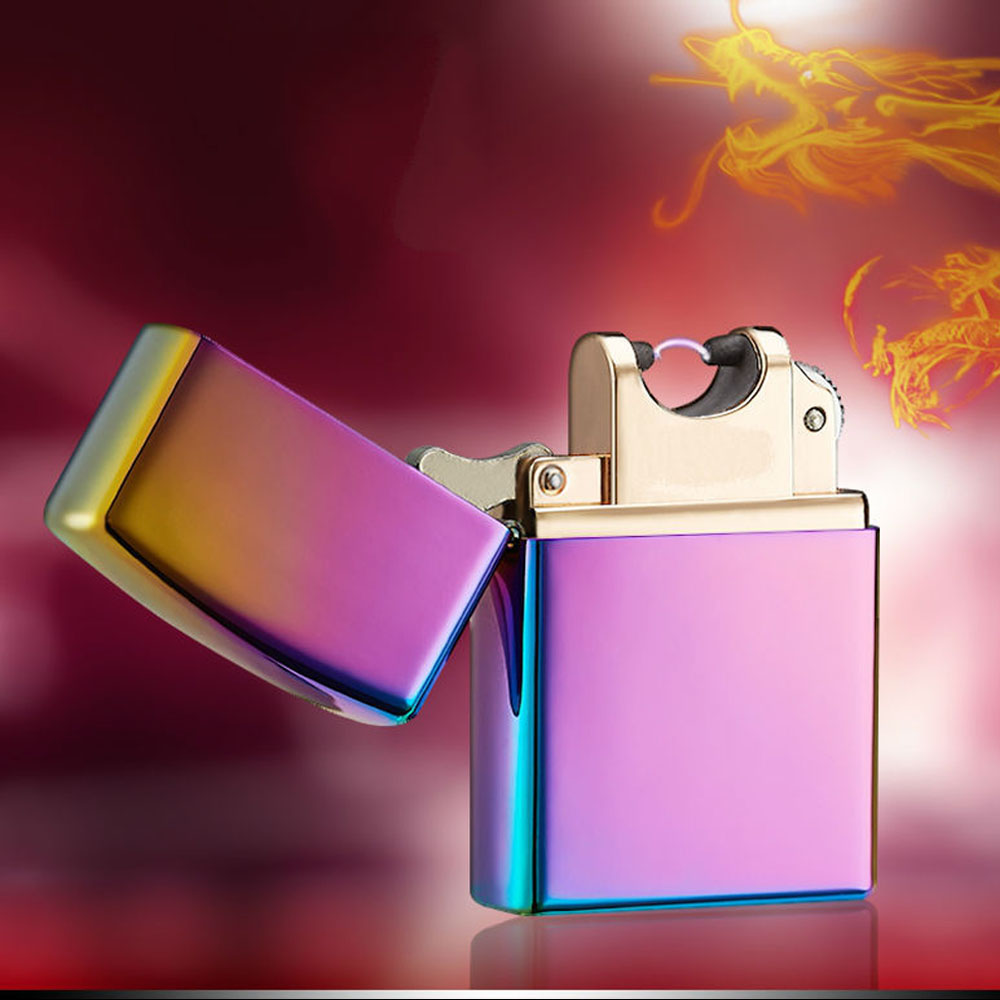 Metal USB Electric USB Arc Lighter No Big Noise Cigarette Cigar Windproof Lighter Free Shipping