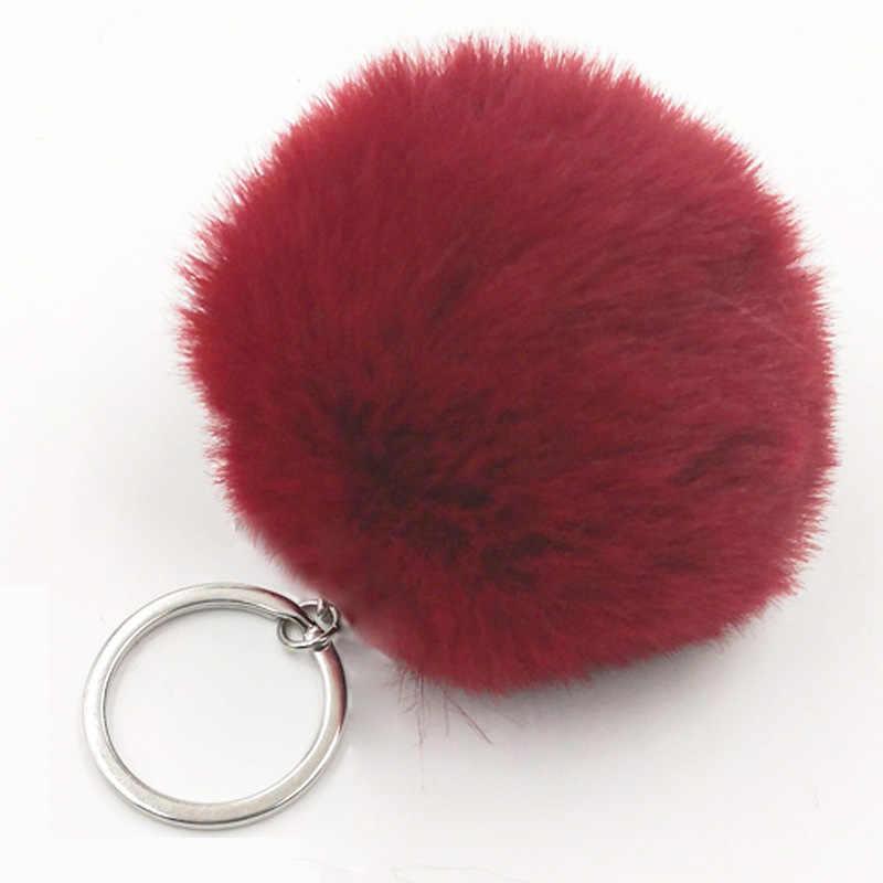 Llaveros de piel de conejo mullido llavero de piel de conejo Artificial pompón negro Lindo bolso de coche llavero de mujer