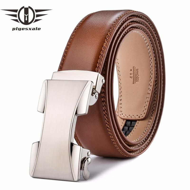 Plyesxale ceinture homme Homens Da Correia de Couro Cintos de Grife Homens de Alta Qualidade 2018 cinto masculino Cinto de Fivela Automática Marrom B53