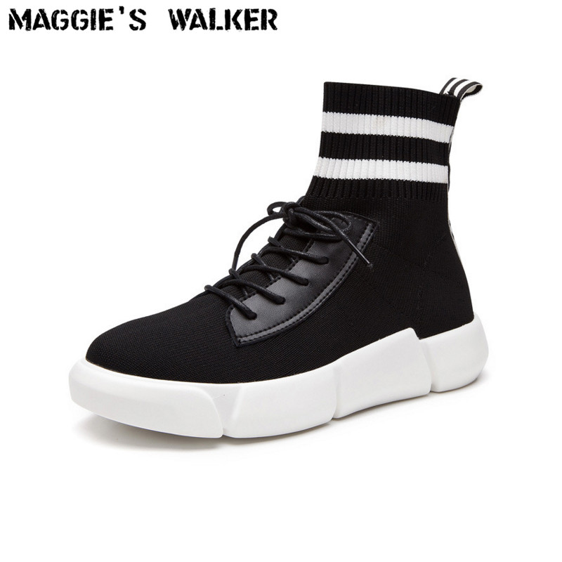 Maggies Walker Womens Knitted Fabric Fashion Boots Hand-made Spring Casual Patchwork Knight Boots Size 35~40