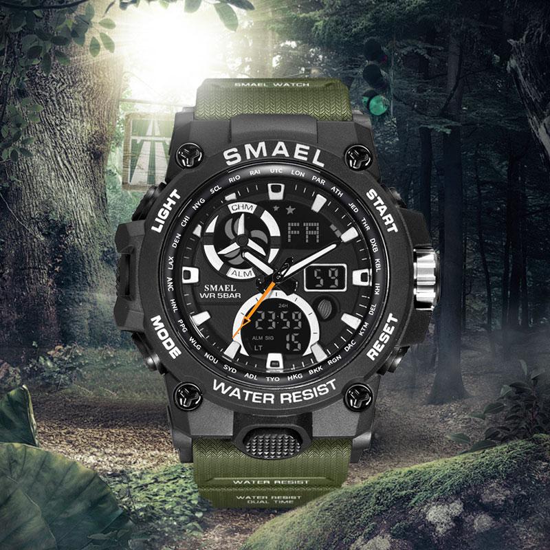 SMAEL Hommes De Montres Armee Vert Sport Montre Luxe Avec 50 M Etanche Dual Time
