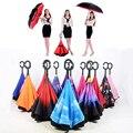 2016 Creativo de Moda de Lujo Plegable Grande C Hombres Mango Paraguas Invertido Cielo Inversa Kazbrella Mujeres Lluvia Paraguas a prueba de Viento Dom