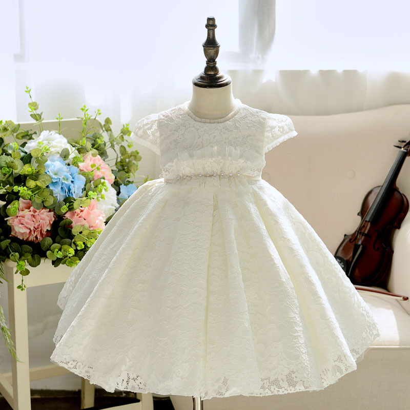 884003a6a Pearls Beading White Flower Girl Dresses for Wedding Short Sleeve Ball Gown  Princess Party Vestidos Lace Kids Pageant Dress B359