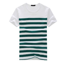 Men's Fashion Casual Stripe Printed Short Sleeve T-shirt Men's Pullover Top Blouse Tee L0521