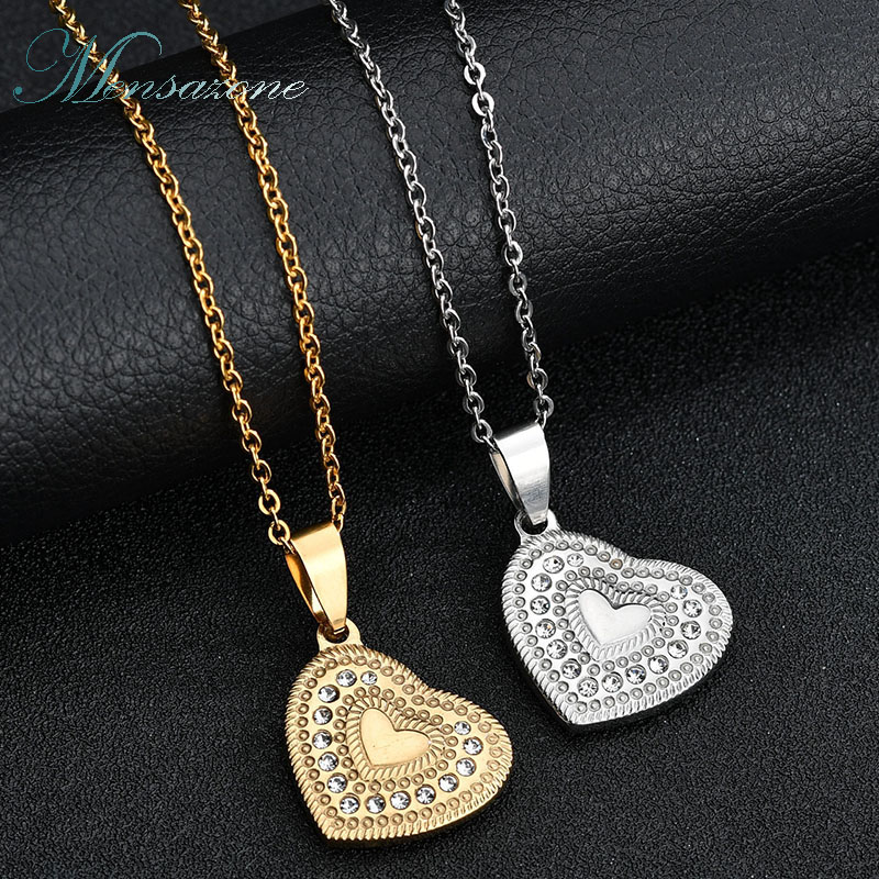 MENSAZONE AAA+ Crystal  Heart Gold Steel Color Stainless Steel Necklace & Pendants Charm Women Jewelry Trendy Gift