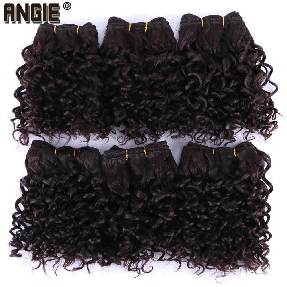 Энджи 8 дюймов синтетических волос, плетение 6 шт один лот афро странный вьющихся волос термостойкие волокна волос Связки (bundle) для женщин