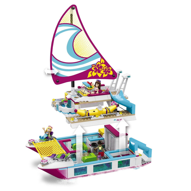 цены на 37037 Friends Girl Series 651pcs Building Blocks toys Sunshine Catamaran kids Bricks toy girl gifts Compatible 41317 в интернет-магазинах