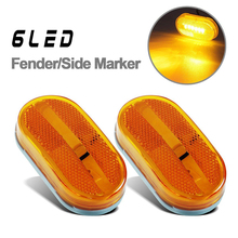 1Pair 6LED Car Side Marker Lights 12V Automobile Trailer Truck Caravan Clearance Lamp Reflector Red Yellow