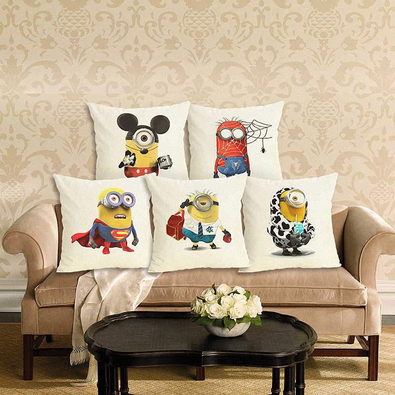 Western Style Cartoon Minion New Home Decorative Cushion Sofa Throw Pillowcase  Square Cojines Cotton Linen Almofadas
