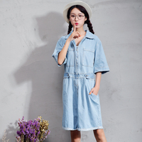 New Autumn Women Shirts Solid Loose Long Garment Bull-puncher Can Roll Sleeve Is Ajar Door Flap Blouse Shirt Light Blue 8097