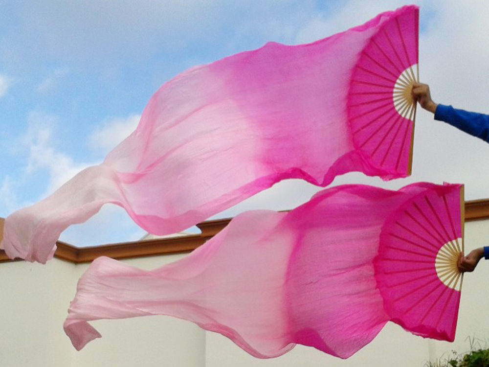 2016 High selling 100% Real Silk Veils 1 Pair handmade women Quality Silk Belly Dance Fan Dance rose light rose pink 5 size