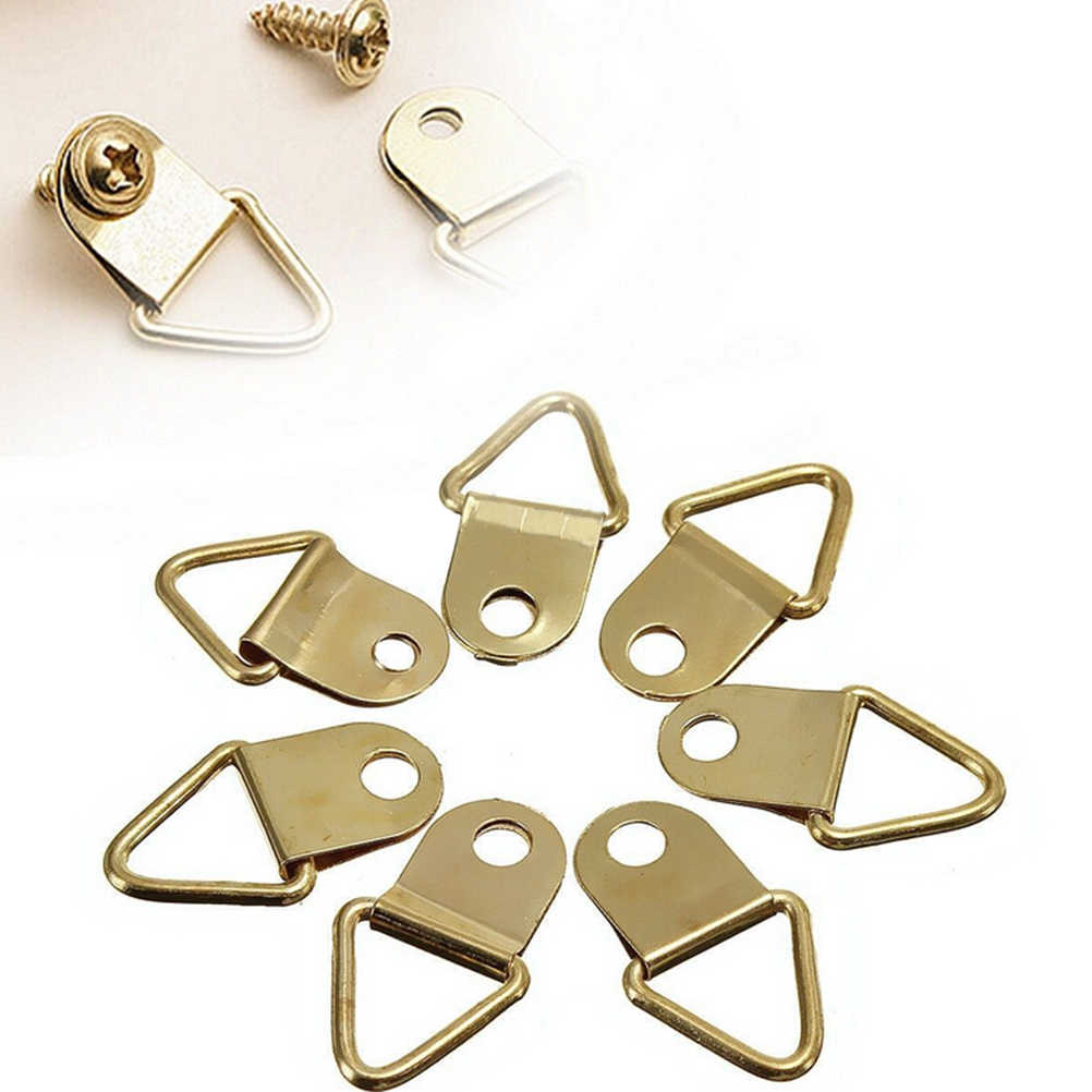 20 Pcs/lot High Quality Wall Mount Hooks Hangers Triangle Golden Brass D-Ring Picture oil Painting Mirror Frame
