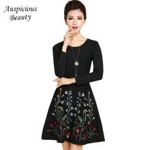 2018 Fashion Elegant Noble Dress Women Knitted Embroidered Long Sleeve Slim Thin Waist Floral Dress A Line Black Dress SUN145