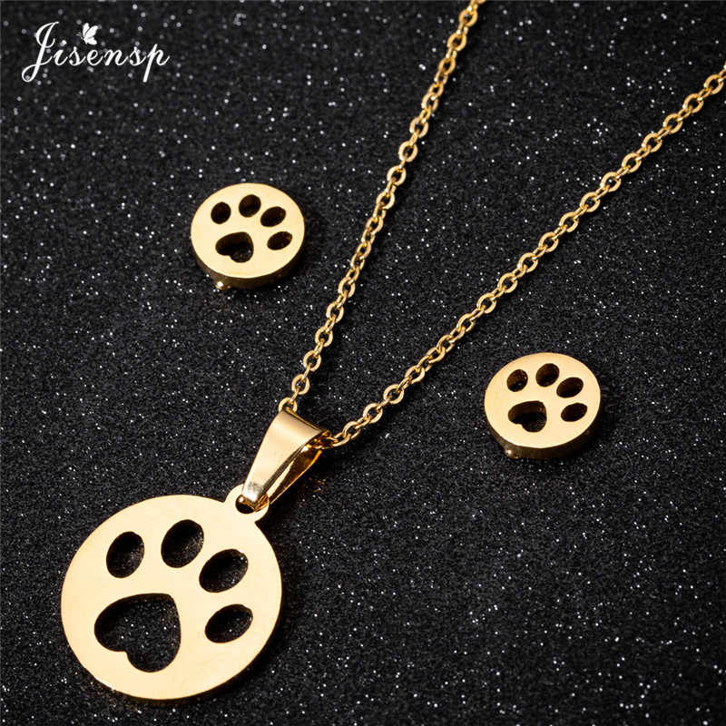 Jisensp Hollow Pet Paw Footprint Necklaces Cute Animal Dog Cat Round Pendant Necklace for Women Jewelry Set Simple Earrings Gift