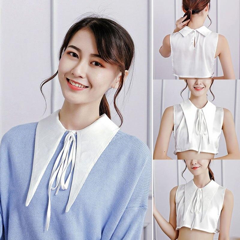 Women Fake Collar Bowknot Adjustable Detachable Half Shirts For Matching Tops HSJ88