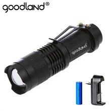 كشاف LED محمول من Goodland كشاف LED تكتيكي مضاد للماء صغير قوي ومزود بـ 3 وضع للتخييم والدراجات