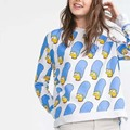 new Brand New Womens cartoon print sweatshirt o neck long sleeve Casual Hoodie Sweatshirts Hoodies sudadera SML