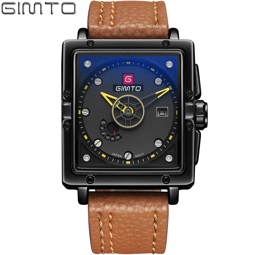 2017 Fashion Style GIMTO Mens Watches Top Brand Luxury Leather Quartz-watch Date Day Sport Men Watch reloj hombre Rectangle reloj hombre curren gold watch men leather date day hours quartz casual watches mens rectangle wristwatches 30m waterproof 8097