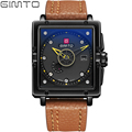 2017 Fashion Style GIMTO Mens Watches Top Brand Luxury Leather Quartz-watch Date Day Sport Men Watch reloj hombre Rectangle