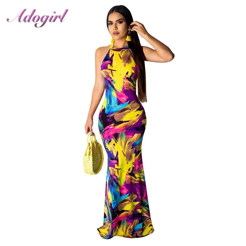 Elegant Women Boho Floral Print Halter Summer Beach Long Dress Sexy Backless Hollow Out Evening Party Dresses Female sundress