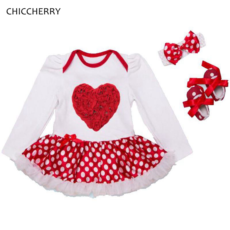 3D LOVE Baby Girls Valentines Day Outfit Petti Romper Dress Headband Crib Shoes Vetement Bebe Fille Conjunto Infantil Menina