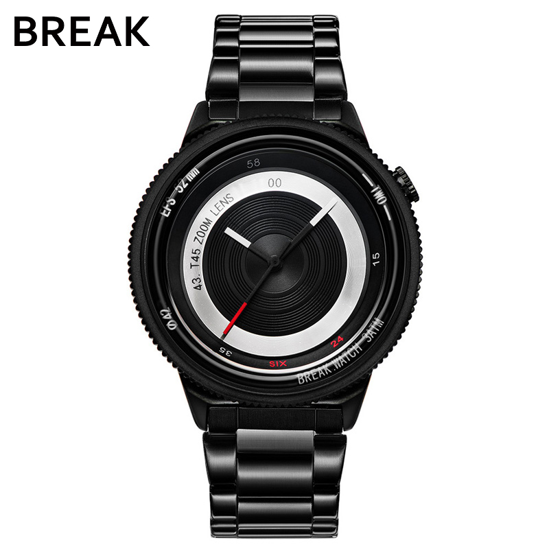 Break Black Camera Series Men Women Luxury Fashion Casual Stainless Steel Band Unique Sport Waterproof Quartz Watches for Man break photographer series unique camera style stainless strap men women casual fashion sport quartz modern gift wrist watches