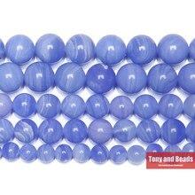 Sentetik taş mavi dantel kalsedon Jades yuvarlak mücevher boncuk 15