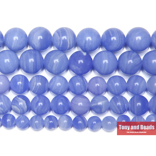 US $2 34 36% OFF|Free Shipping Synthetic Stone Blue Lace Chalcedony Jades  Round Gem Beads 15