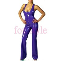 100% nature latex sleeveless garment zentai purple catsuit