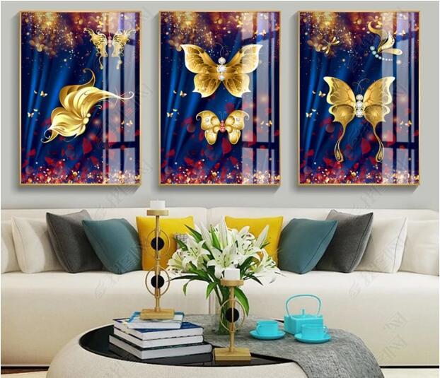 ZL الحديثة الحد الأدنى الشمال الفنية التجريدية خلفية الذهبي فراشة Dainting الديكور غرفة اللوحة-في الرسم والخط من المنزل والحديقة على  مجموعة 1