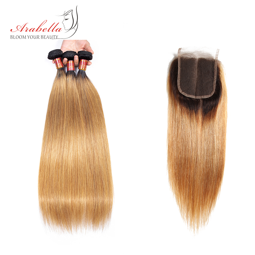 Straight Hair Bundles With Closure 1b/27 Ombre Arabella  Hair  100%  Bundles With Closure 1