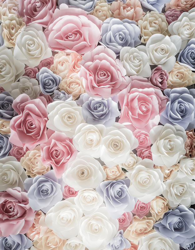 5x7ft Antique White Purple Pink Chic Paper Flowers Wall