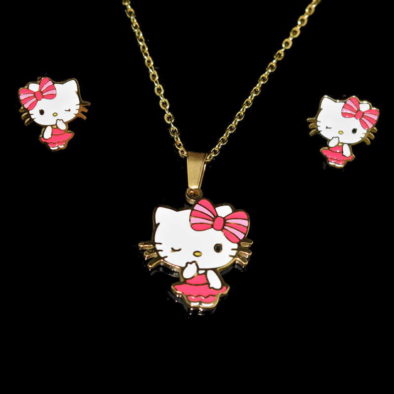 Cartoon Lovely KT cat Stainless Steel 100% Golden Plated Necklace Earrings Sets For Woman/Child/Girl Gifts Jewelry Set Wholesale