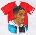 EE. UU. Tamaño Real Por Encargo Tupac Jugo (Rojo) de La Manera 3D de Impresión de Sublimación Camiseta de Béisbol Más Tamaño