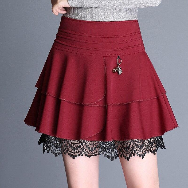 2018 Layer Cake Skirt Mini Skirt Women New Elastic High Waist Pendant Skirts Female A-Line Pleated Skirt Lace Ruffle Skirt