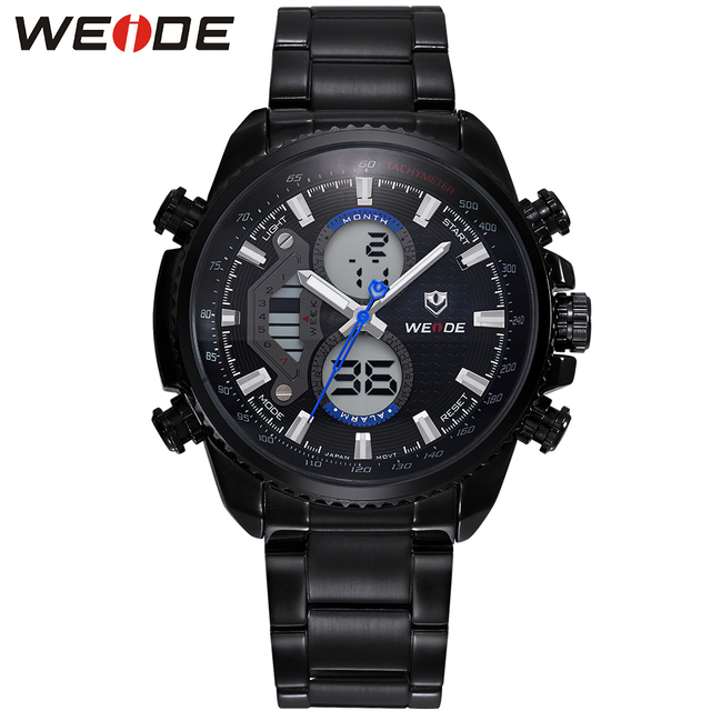 WEIDE Mens Black Stainless Steel Watches Top Brand Luxury Casual Analog Quartz Waterproof Relogio Masculino Gifts For Men