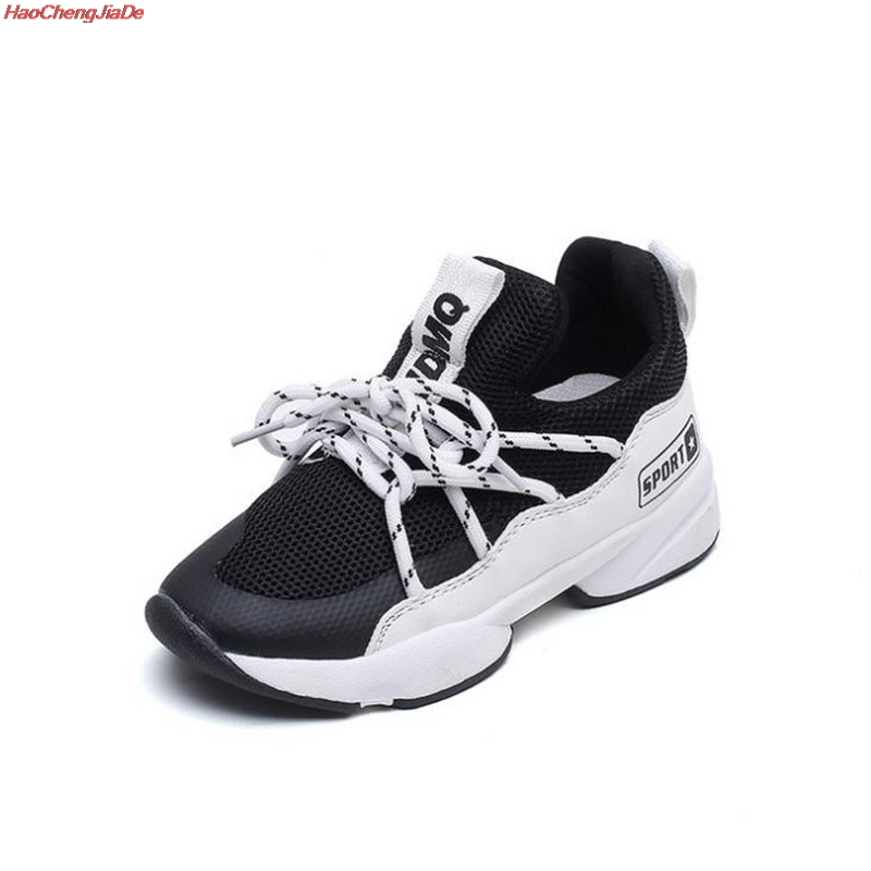 Spring New Fashion Baby Girls Black Leather Shoes Children Mesh Sport Sneakers Kids Casual Shoes Boys Brand Shoes School Party