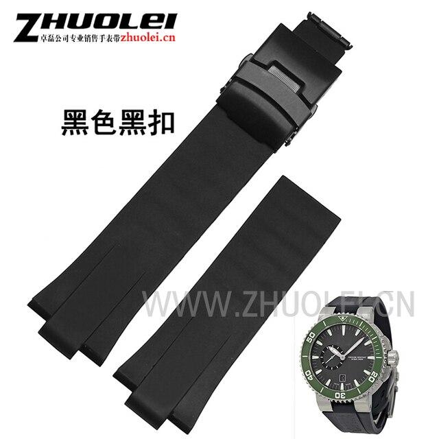 24 мм (11 мм наконечник) черный луг конец резиновый Водонепроницаемый браслет ремешок для часов для мужчин Oris часы группа из нержавеющей стали, застежка
