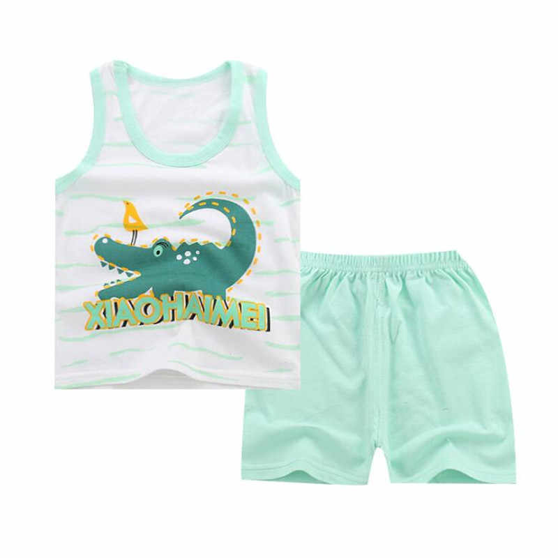 Summer 2pcs Suits Baby Boy Clothing Set Cartoon Boys Girls Vest Clothes Set Cotton Sleeveless Sports T Shirts Toddler Shorts